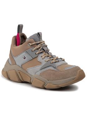 TOMMY HILFIGER TOMMY HILFIGER Sneakersy Mid Cut Chunky Sneaker FW0FW04611 Hnědá