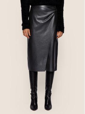 Boss Boss Kožená sukně Valedy 50437330 Černá Slim Fit