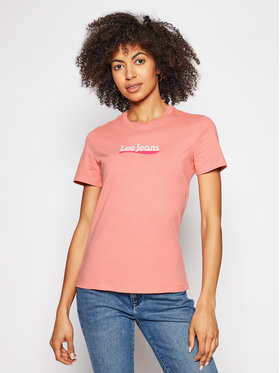 Lee Lee T-Shirt Logo L44NEPQJ Rosa Regular Fit