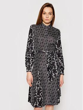 KARL LAGERFELD KARL LAGERFELD Košeľové šaty Future Logo 211W1305 Čierna Regular Fit