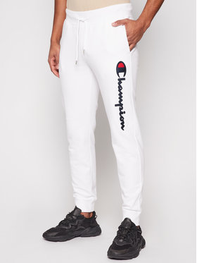 Champion Champion Spodnie dresowe Satin Script Logo 214190 Biały Regular Fit