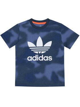 adidas adidas Marškinėliai Allover Print Camo GN4119 Tamsiai mėlyna Regular Fit