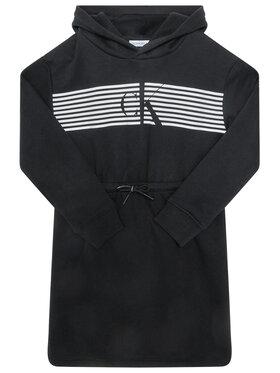 Calvin Klein Jeans Calvin Klein Jeans Sukienka codzienna Striped Ck Hood IG0IG00605 Czarny Regular Fit