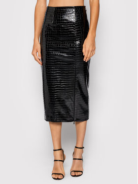 ROTATE ROTATE Spódnica z imitacji skóry Leeds Pencil Skirt-RT545 Czarny Regular Fit