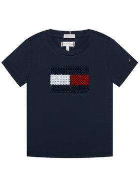 TOMMY HILFIGER TOMMY HILFIGER Marškinėliai Flag Flip Sequins Tee KG0KG05251 M Tamsiai mėlyna Regular Fit
