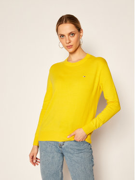 Tommy Jeans Tommy Jeans Pulover Soft Touch Crew DW0DW08853 Galben Regular Fit