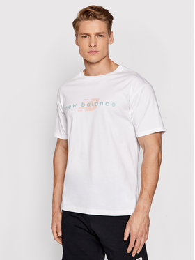 New Balance New Balance T-shirt MT01516 Bianco Relaxed Fit