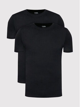 KARL LAGERFELD KARL LAGERFELD 2 póló készlet Crew Neck 215M2199 Fekete Slim Fit