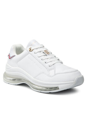 Tommy Hilfiger Tommy Hilfiger Sneakersy Signature Leather Air Runner FW0FW05921 Biela