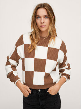 Mango Mango Sweter Chess 17073267 Brązowy Relaxed Fit