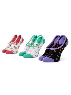 Vans Vans Sada 3 párů dětských kotníkových ponožek Wm Rainbow Hearts Canoodle VN0A4S7X4481 r.31,5-36 Bílá