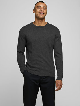 Jack&Jones Jack&Jones Sweter Basic 12137190 Szary Regular Fit