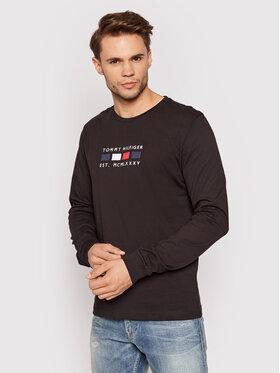 Tommy Hilfiger Tommy Hilfiger Тениска с дълъг ръкав Four Flags MW0MW20163 Черен Regular Fit