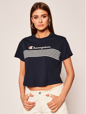 Champion Champion T-Shirt Script Logo Stripe 113098 Tmavomodrá Regular Fit