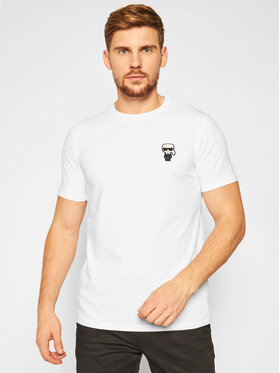 KARL LAGERFELD KARL LAGERFELD T-Shirt Crewneck 755027 502221 Biały Regular Fit