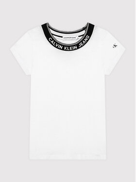 Calvin Klein Jeans Calvin Klein Jeans T-Shirt Logo Collar IG0IG01012 Weiß Slim Fit