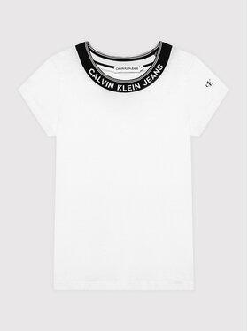 Calvin Klein Jeans Calvin Klein Jeans Тишърт Logo Collar IG0IG01012 Бял Slim Fit