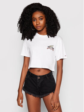 Tommy Jeans Tommy Jeans Тишърт Tjw Super Crop Logo Tee DW0DW09824 Бял Regular Fit
