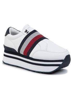 TOMMY HILFIGER TOMMY HILFIGER Sneakersy Elastic Slip On Fatform Sneaker FW0FW04603 Bílá