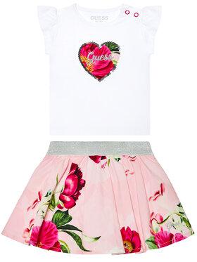 Guess Guess Σετ T-Shirt και φούστα A1GG10 K6YW1 Λευκό Regular Fit
