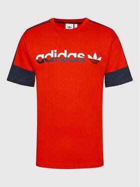 adidas adidas Marškinėliai Sprt 3-Stripes Split H31274 Raudona Regular Fit