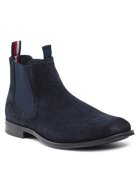 Tommy Hilfiger Tommy Hilfiger Kotníková obuv s elastickým prvkem Casual Suede Chelsea FM0FM03768 Tmavomodrá