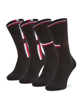 Tommy Hilfiger Tommy Hilfiger Sada 2 párů pánských vysokých ponožek 100001492 Černá