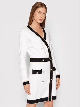 Fracomina Fracomina Плетена рокля FR21WD5008K42101 Бял Regular Fit