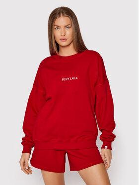 PLNY LALA PLNY LALA Bluza Flora PL-BL-FO-00021 Czerwony Oversize