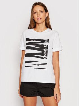 Calvin Klein Calvin Klein T-Shirt Zebra Print K20K203030 Bílá Regular Fit