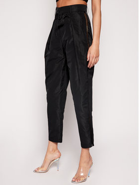 Manila Grace Manila Grace Spodnie materiałowe P536PU Czarny Regular Fit