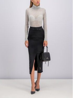 Patrizia Pepe Džínsová sukňa 2J2262/A2YM-K103 Čierna Slim Fit