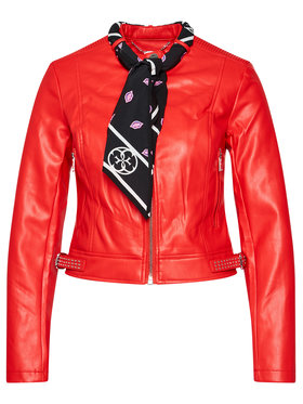 Guess Guess Giacca di pelle New Jone W0YL40 WAEI0 Rosso Slim Fit