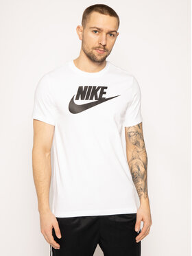 NIKE NIKE T-Shirt Icon Futura AR5004 Bílá Regular Fit