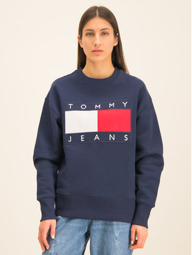 Tommy Jeans Tommy Jeans Džemperis TJM Tommy Flag Crew DM0DM07201 Tamsiai mėlyna Regular Fit