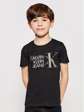 Calvin Klein Jeans Calvin Klein Jeans Tricou Hybdrid Logo Fitted IB0IB00849 Negru Regular Fit
