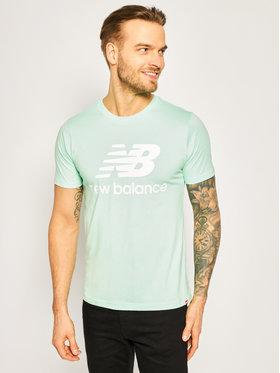 New Balance Tričko Essentials Stacked Logo Tee MT01575 Zelená Athletic Fit