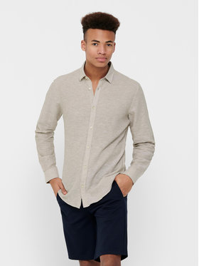 Only & Sons ONLY & SONS Koszula Caiden 22012321 Beżowy Slim Fit