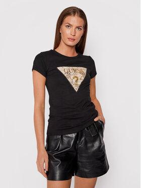 Guess Guess T-Shirt Ghost Leopard Logo W1BI52 KA0Q0 Czarny Regular Fit