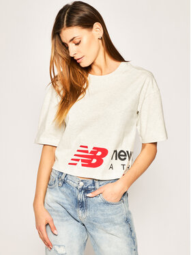 New Balance New Balance T-Shirt Essential Icon Graphic Boxy Tee WT01515 Szary Relaxed Fit