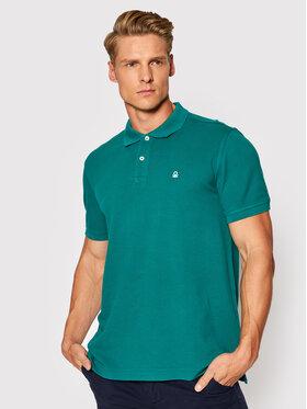 United Colors Of Benetton United Colors Of Benetton Тениска с яка и копчета 3089J3179 Зелен Regular Fit