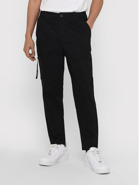 Only & Sons ONLY & SONS Pantaloni di tessuto Dew 22018645 Nero Tapered Fit