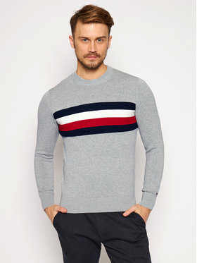 TOMMY HILFIGER TOMMY HILFIGER Sweter Signature Colour Blocked MW0MW15439 Szary Regular Fit