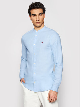 Tommy Jeans Tommy Jeans Koszula Mao Linen Blend DM0DM10617 Niebieski Slim Fit
