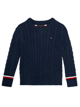 TOMMY HILFIGER TOMMY HILFIGER Sweter Essential Cable KB0KB06082 M Granatowy Regular Fit