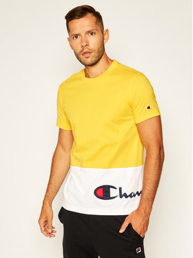 Champion Champion T-Shirt Colour Block Wraparound Logo 214208 Gelb Comfort Fit