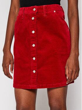 Tommy Jeans Tommy Jeans Mini sukně Cord Button Thru DW0DW08899 Červená Slim Fit