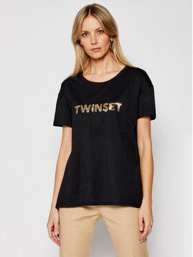 TwinSet TwinSet Tričko 211LM28GG Čierna Regular Fit