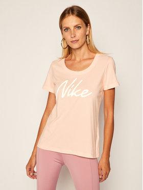Nike Nike Тениска от техническо трико Dry-FIT Scoop Logo Tee CQ0258 Оранжев Standard Fit