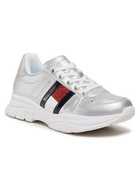 Tommy Hilfiger Tommy Hilfiger Sneakersy Low Cut Lace Up Sneaker T3A4-31033-1160 S Srebrny